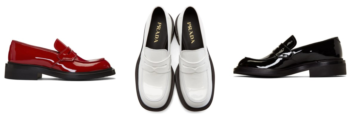 Prada patent square-toe penny loafers