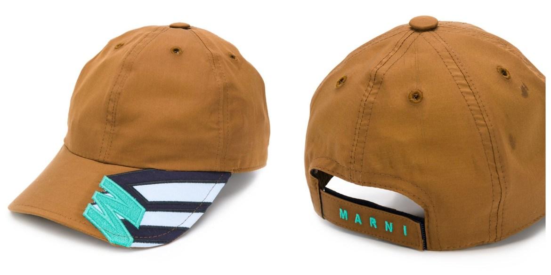 Marni logo embroidered fashion baseball cap in olive