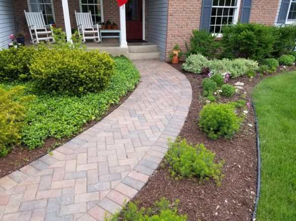 front entryway landscape and paver
