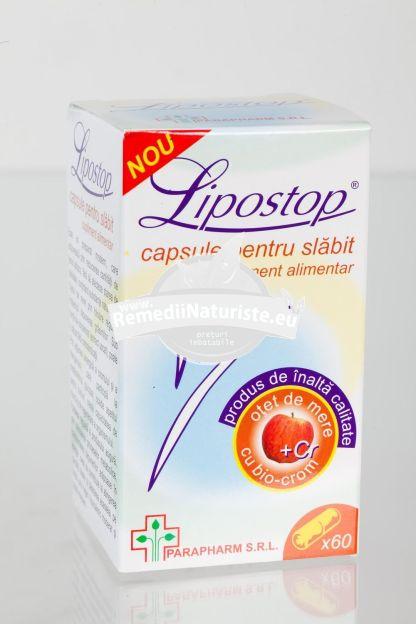 LIPOSTOP PENTRU SLABIT 60cps QUANTUM PHARM Tratament naturist reduce tesutul adipos reduce cantitatea de tesut adipos stimuleaza metabolizarea glucozei scade apetitul