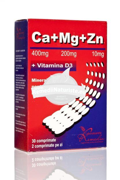 CA+MG+ZN +D3 30cps REMEDIA Tratament naturist regl.sistemului endocrin fortifica sistemul imunitar sistemul nervos, osos, muscular, cardiocirculator