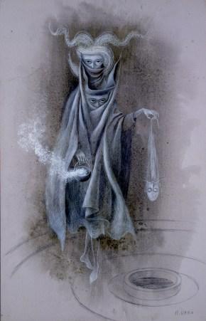 Mujer Saliendo del Psicoanalista (Dibujo Previo), 1960.