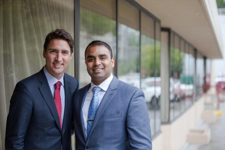 Justin Trudeau with Sasha Ramnarine