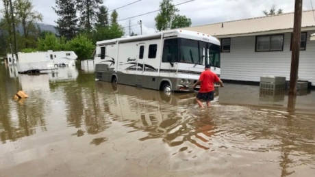 Grand Forks mobile home park is completely swamped with water.