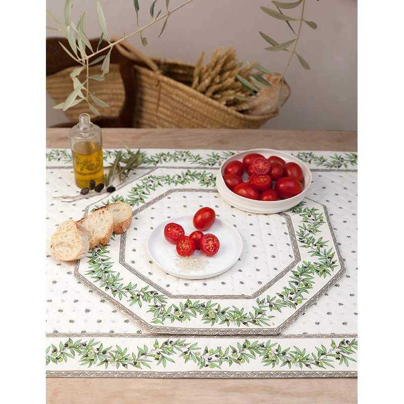 set de table haut de gamme matelasse calissons olivettes x6