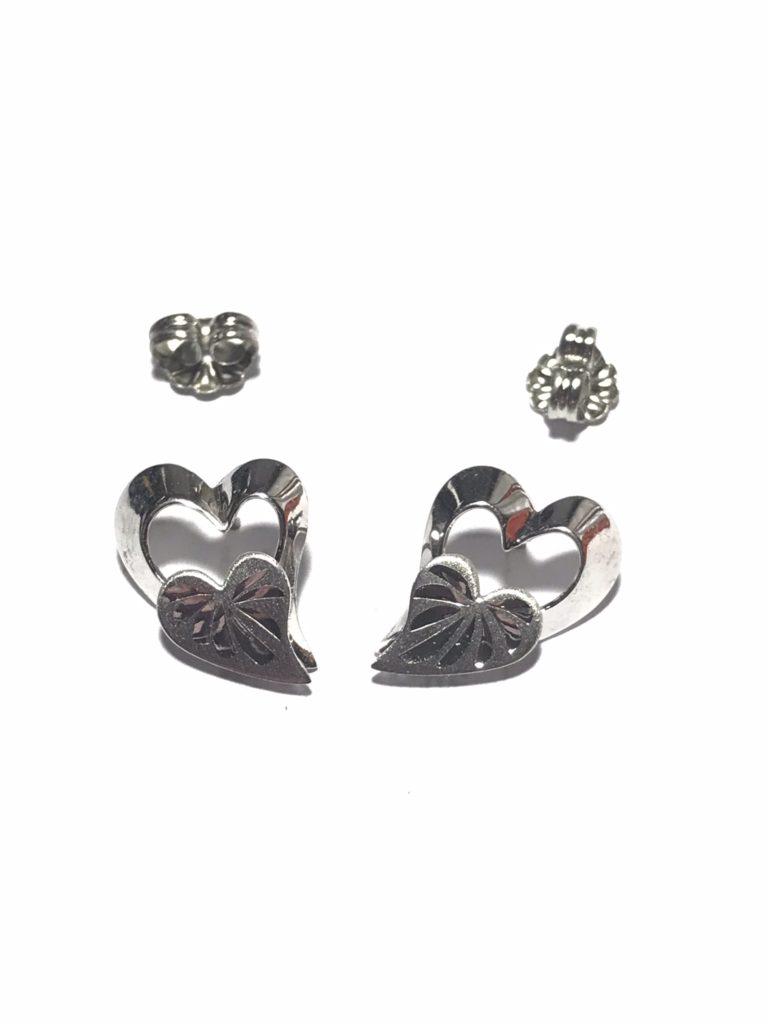 Vintage BEAU Sterling Silver Double Heart Stud Earrings