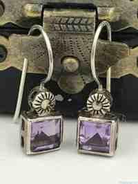 Vintage Sterling Silver Purple Gemstone Dangle Earrings ...