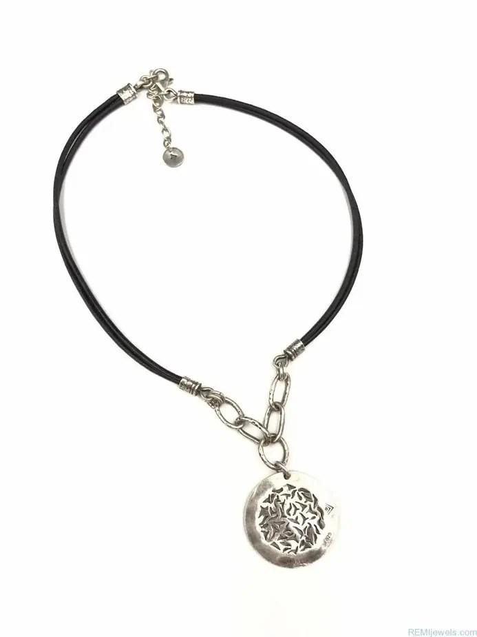 SILPADA Leather Sunburst Sterling Silver Necklace N1711
