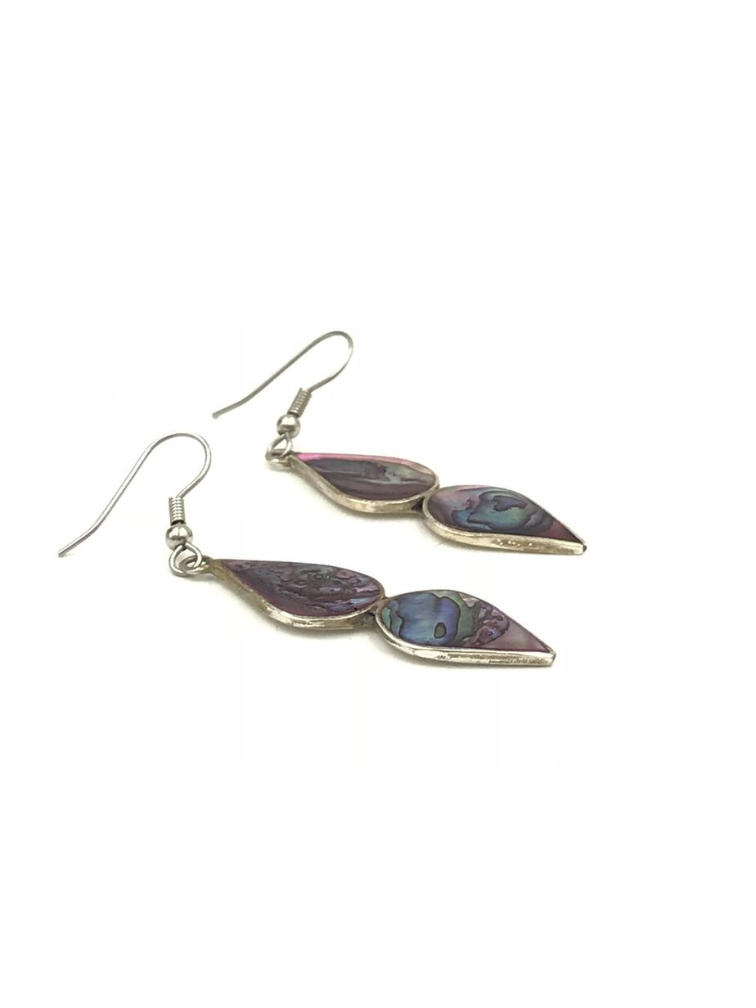 Mexico Alpaca Vintage Inlaid Abalone Shell Earrings Dangle