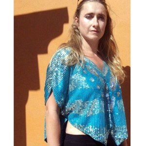 disco butterfly sequin top-the remix vintage fashion
