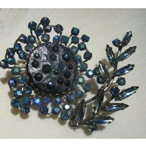 Blue rhinestone large brooch-Remix Vintage Clothing