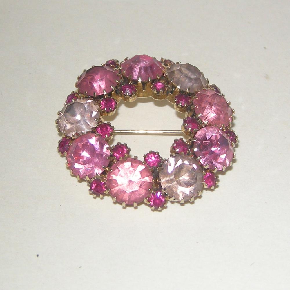 Pink Circle Rhinestone Brooch Remix Vintage Fashion