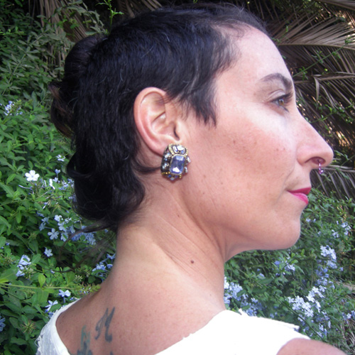heidi daus designer rhinestone clip earrings - remix vintage clothing
