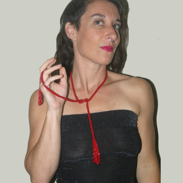 20s red flapper lariat-the Remix Vintage fashion