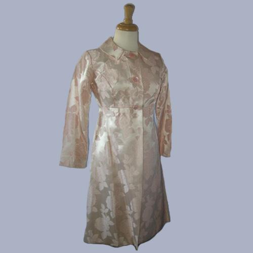 pink satin brocade mod coat-the remix vintage fashion