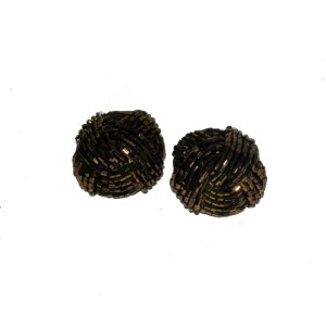 bronze bead knot earring clip-the remix vintage fashion