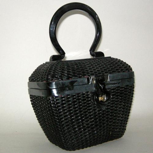 black wicker handbag lucite handle hemphill wells-the remix vintage fashion