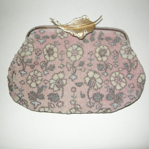Pink floral purse Art Deco upcycle design-the remix vintage fashion