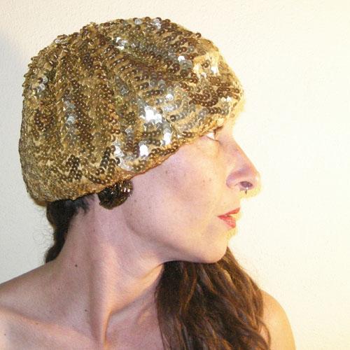 gold sequin disco beret 70s-the remix vintage fashion
