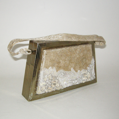 brocade box purse 50s 60s trapezoid goldtone metalic-the remix vintage fashion