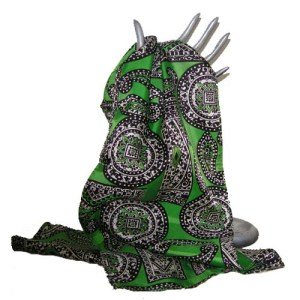 paisley 70s scarf geometric green acetate-the remix vintage fashion