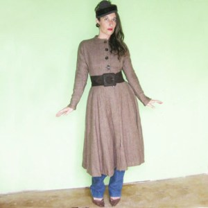 Anne Fogarty dress wool tweed 50s-the remix vintage fashion