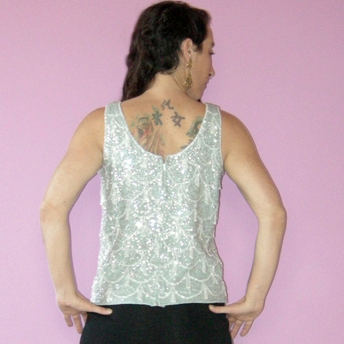 60s Beaded Sequin Top Wool Blue flapper-the remix vintage fashion