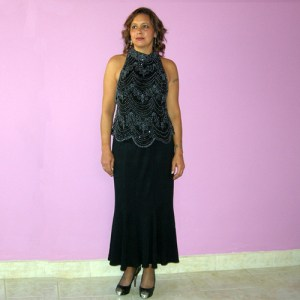 Papell boutique evening top black silk beaded sequins-the remix vintage fashion
