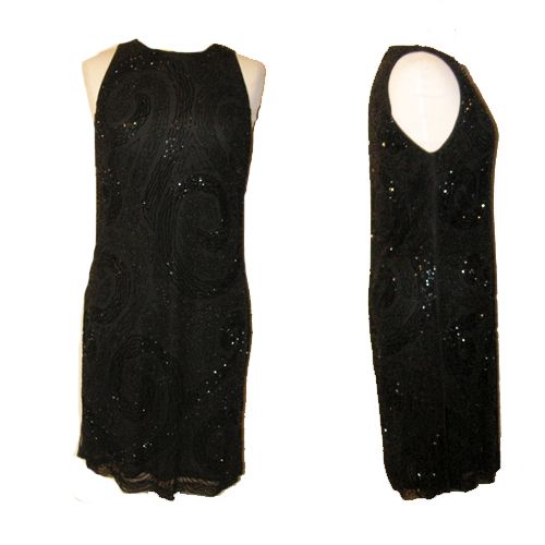 ellen tracy linda allard black dress beaded evening cocktail-the remix vintage fashion