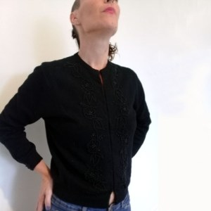 50s beaded cardigan black-the remix vintage fashion