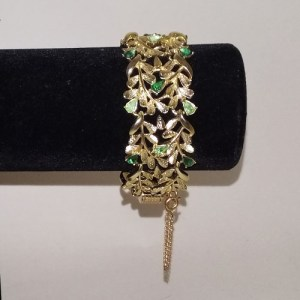coro rhinestone bracelet gold tone metal green stones safety chain-the remix vintage fashion