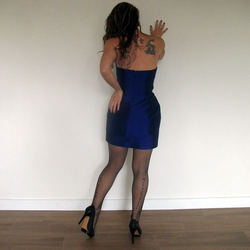 bebe strapless dress mini wiggle blue satin-the remix vintage fashion