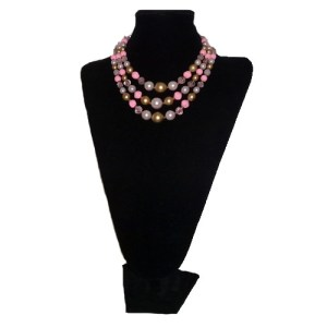 tri strand bead necklace japan pink pearl crystal-the remix vintage fashion