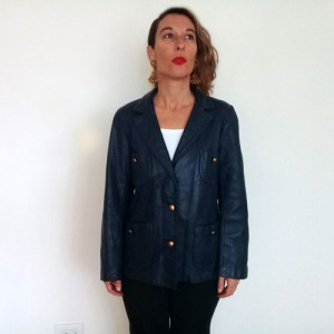 60s leather jacket womens blue lady californian-the remix vintage fashion