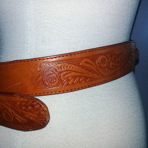 mexican tooled leather belt-the remix vintage fashion