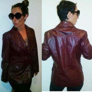 70s Aignier leather jacket oxblood size 12-the remix vintage fashion