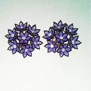 60s daisy earrings purple clusters rhinestones-the remix vintage fashion