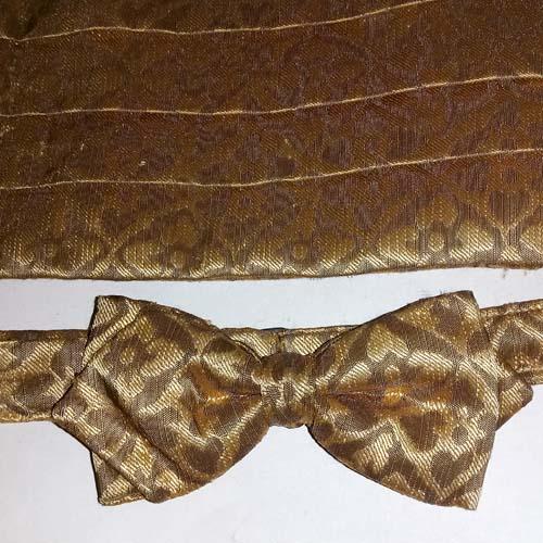 cummerbund set bow tie gold brocade-the remix vintage fashion