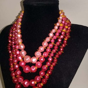 Pink Orange Multi Strand Necklace-the remix vintage fashion