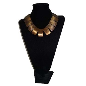 polished metal bib necklace art deco etching starburst-the remix vintage fashion