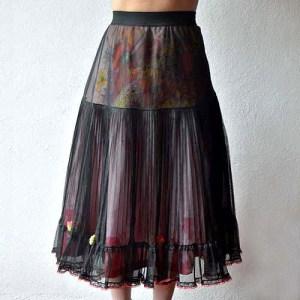 Sliptique black crinoline transformed vintage lingerie upcycle design-the remix vintage fashion