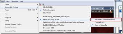 VMWare Removable Devices Menu