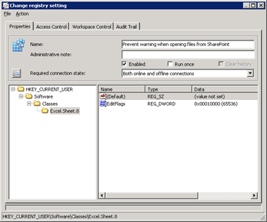 RES Workspace Manager | Composition | Applications | Managed Applications | Microsoft Office 2003 | Excel | Configurations | Actions