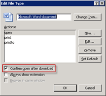 Microsoft Word-document | Confirm open after download