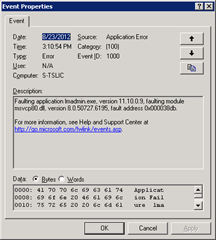 Application Error   Faulting application lmadmin.exe, version 11.10.0.9, faulting module msvcp80.dll, version 8.0.50727.6195, fault address 0x000038db