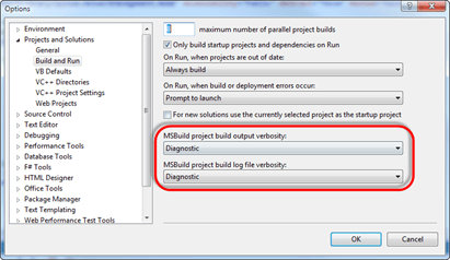 Visual Studio | Tools | Options | Projects and Solutions | Build and Run | MSBuild project build output verbosity | Diagnostic
