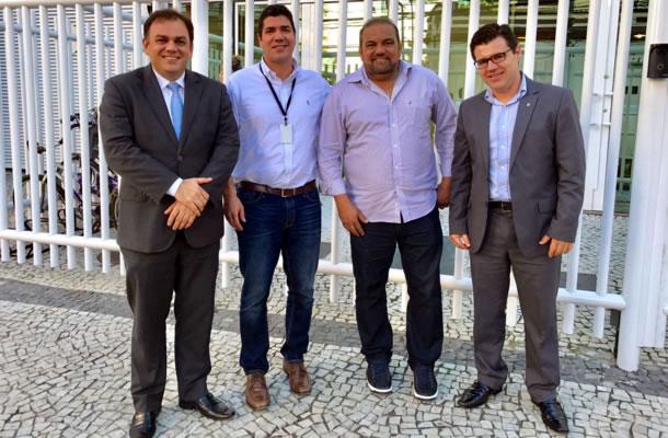 Milton Campos, Bernardo Ramalho (Esporte Interativo), Hélio Leite e Diogo Neto (CBF)