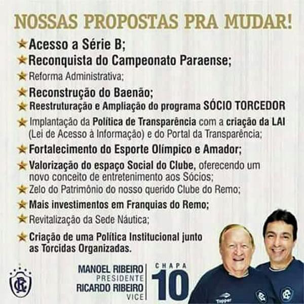 Promessas de Manoel Ribeiro nas últimas eleições
