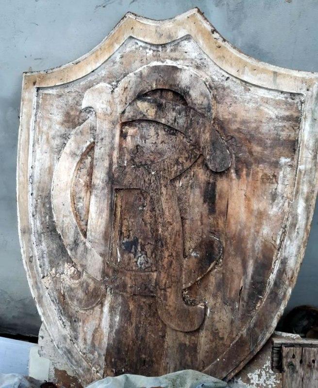 Escudo original do Clube do Remo retirado do pórtico do Baenão