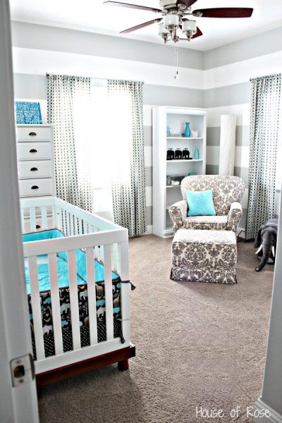 Gray Stripes and Elephants Nursery